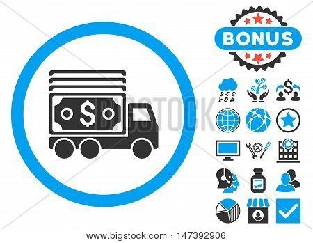Cash Lorry icon with bonus design elements. Glyph illustration style is flat iconic bicolor symbols, blue and gray colors, white background.
