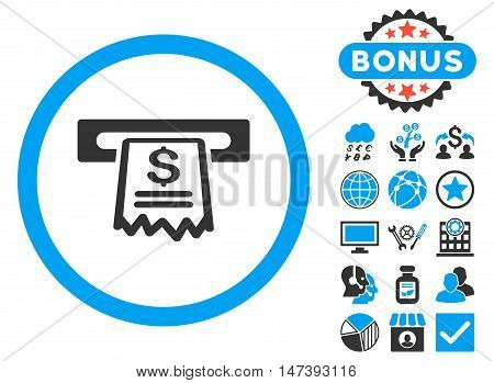 Cashier Receipt icon with bonus design elements. Glyph illustration style is flat iconic bicolor symbols, blue and gray colors, white background.