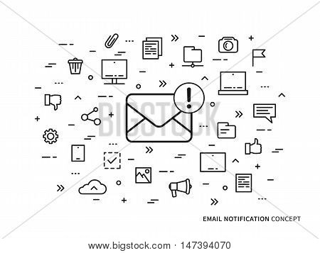 Linear e-mail notification mail notice advice note vector illustration. Mail notice envelope correspondence mobile web technology creative concept. Message mail application graphic design.