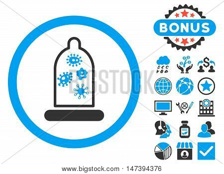 Condom Microbes icon with bonus pictures. Glyph illustration style is flat iconic bicolor symbols, blue and gray colors, white background.