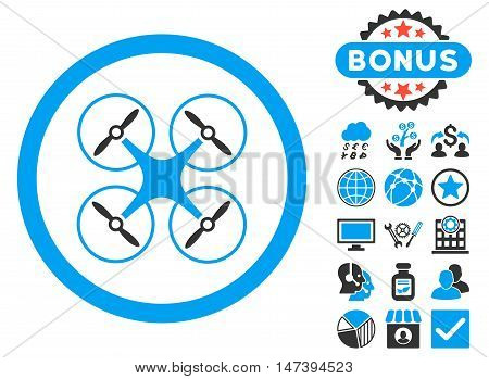 Copter icon with bonus symbols. Glyph illustration style is flat iconic bicolor symbols, blue and gray colors, white background.