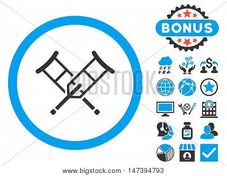 Crutches icon with bonus design elements. Glyph illustration style is flat iconic bicolor symbols, blue and gray colors, white background.