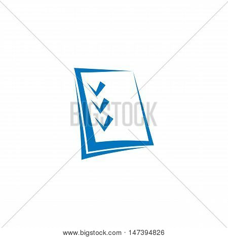 Isolated abstract blue color checklist contour logo on the white background. Checkmark logotype. Business plan icon. Make note sign. Test sheet symbol. Notebook paper pictogram. Vector illustration