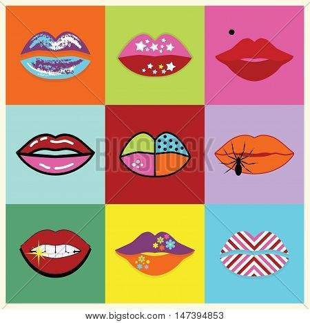 Retro assorted and colorful pop art women lips set poster