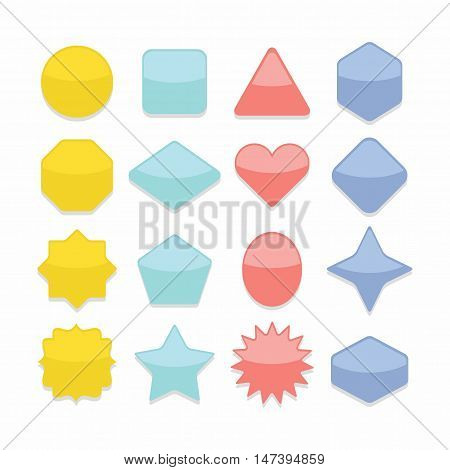Basic colorful geometrical shape web buttons complete set on white background