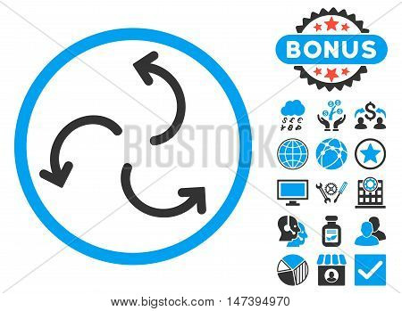 Cyclone Arrows icon with bonus elements. Glyph illustration style is flat iconic bicolor symbols, blue and gray colors, white background.