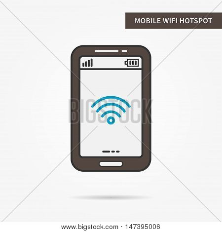 Linear mobile WiFi Hotspot app. Flat WiFi hotspot icon. Mobile WiFi sharing symbol. WiFi hotspot graphic design banner. Digital WiFI hotspot app icon. Vector payment technology sign illustration.