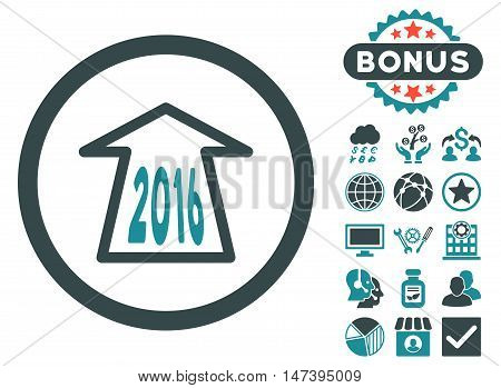 2016 Ahead Arrow icon with bonus images. Vector illustration style is flat iconic bicolor symbols, soft blue colors, white background.
