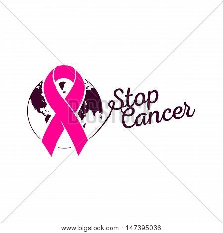 Isolated pink color ribbon on the white background logo. Against cancer logotype. Earth image. Stop disease symbol. International worldwide breast cancer week. Medical sign. Vector illustration