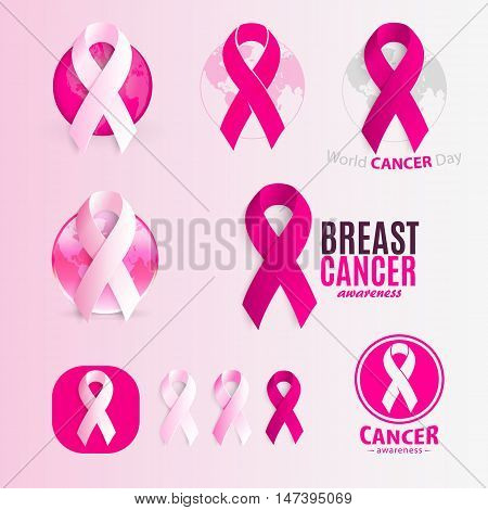 Isolated pink and white color ribbons logo set. Against cancer logotype collection. Stop disease symbol. International worldwide breast cancer week. Medical sign. Vector illustration