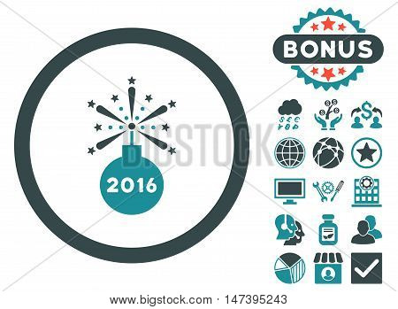 2016 Fireworks Detonator icon with bonus pictures. Vector illustration style is flat iconic bicolor symbols, soft blue colors, white background.