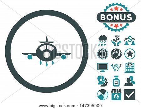 Aircraft icon with bonus pictures. Vector illustration style is flat iconic bicolor symbols, soft blue colors, white background.