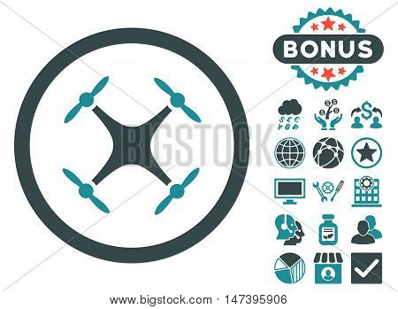 Airdrone icon with bonus pictogram. Vector illustration style is flat iconic bicolor symbols, soft blue colors, white background.