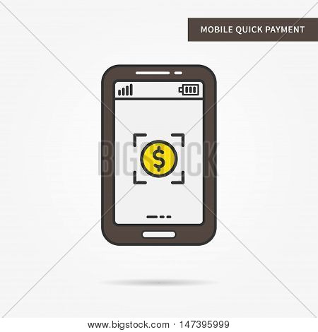 Linear mobile quick payment service. Flat phone online payment app. Creative mobile scan dollar coin graphic design. Vector commercial financial software sign illustration.