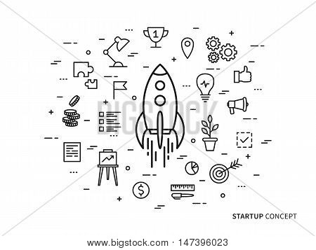 Linear Startup space ship rocket vector illustration. Srart-up creative concept. Start up flat graphic design.