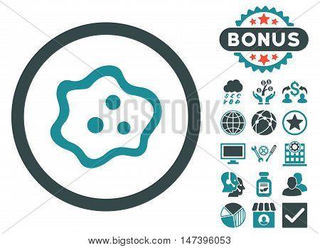 Amoeba icon with bonus symbols. Vector illustration style is flat iconic bicolor symbols, soft blue colors, white background.