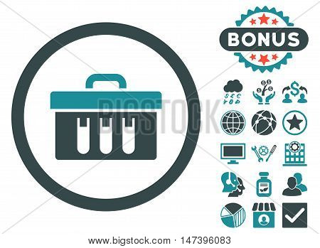 Analysis Box icon with bonus pictures. Vector illustration style is flat iconic bicolor symbols, soft blue colors, white background.