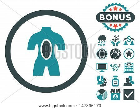 Anatomy icon with bonus images. Vector illustration style is flat iconic bicolor symbols, soft blue colors, white background.