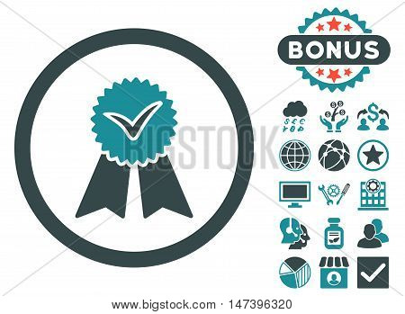 Approvement Seal icon with bonus images. Vector illustration style is flat iconic bicolor symbols, soft blue colors, white background.