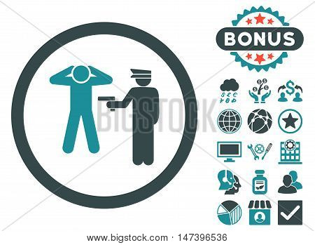 Arrest icon with bonus pictogram. Vector illustration style is flat iconic bicolor symbols, soft blue colors, white background.