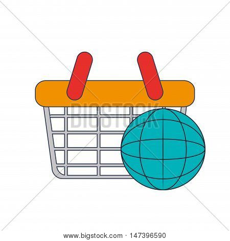 flat design shopping basket and shopping basket and earth globe diagram icon vector illustration