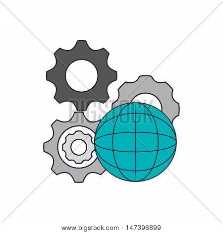 flat design gears and earth globe diagram  icon vector illustration