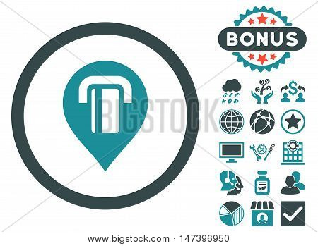 Atm Map Marker icon with bonus pictures. Vector illustration style is flat iconic bicolor symbols, soft blue colors, white background.