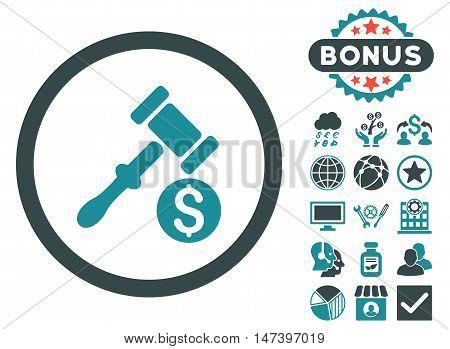Auction icon with bonus design elements. Vector illustration style is flat iconic bicolor symbols, soft blue colors, white background.