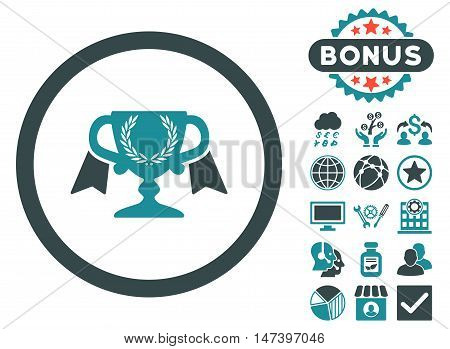 Award Cup icon with bonus pictogram. Vector illustration style is flat iconic bicolor symbols, soft blue colors, white background.