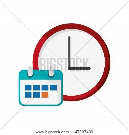 flat design wall clock and calendar  icon vector illustration