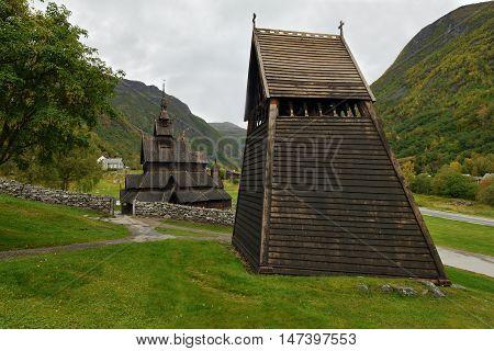Borgund Stave Church, Norway. Historic wooden church.