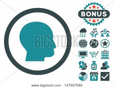 Bald Head icon with bonus images. Vector illustration style is flat iconic bicolor symbols, soft blue colors, white background.