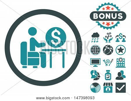Banker Office icon with bonus images. Vector illustration style is flat iconic bicolor symbols, soft blue colors, white background.