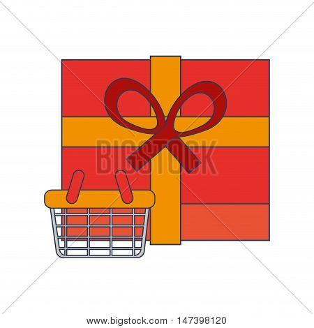 flat design giftbox and shopping basket  icon vector illustration