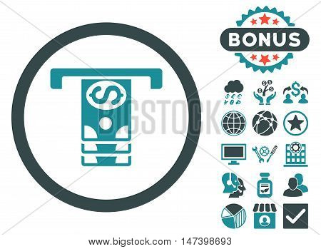 Banknotes Withdraw icon with bonus pictures. Vector illustration style is flat iconic bicolor symbols, soft blue colors, white background.