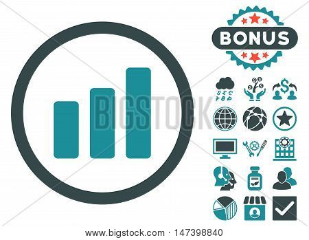 Bar Chart Increase icon with bonus design elements. Vector illustration style is flat iconic bicolor symbols, soft blue colors, white background.