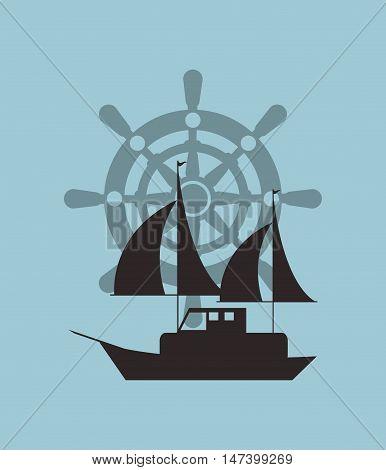 sail boat with rudder emblem image vector illustration design