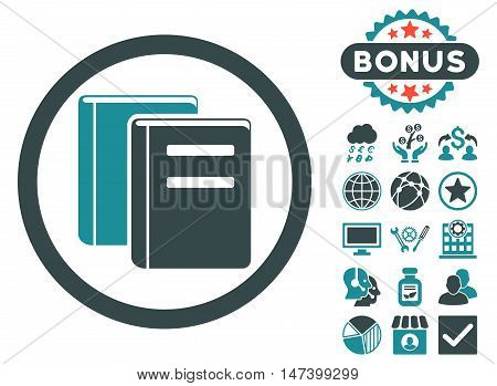 Books icon with bonus symbols. Vector illustration style is flat iconic bicolor symbols, soft blue colors, white background.