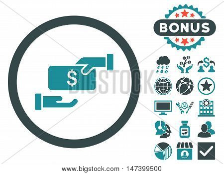 Bribe icon with bonus images. Vector illustration style is flat iconic bicolor symbols, soft blue colors, white background.