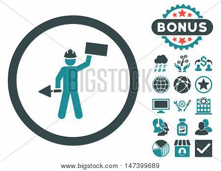 Builder With Shovel icon with bonus elements. Vector illustration style is flat iconic bicolor symbols, soft blue colors, white background.