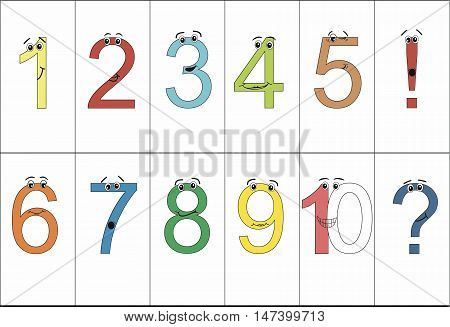 Colorful funny numbers from one to ten with eyes and positive emotions. Question mark. Exclamation point.