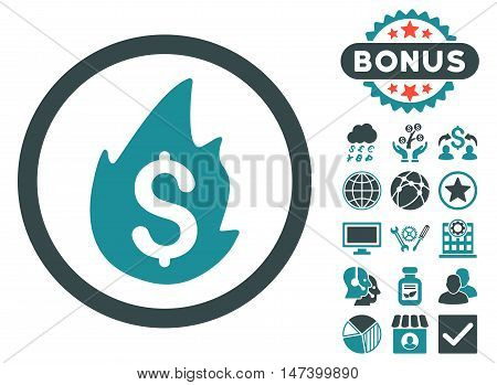 Business Fire Disaster icon with bonus design elements. Vector illustration style is flat iconic bicolor symbols, soft blue colors, white background.