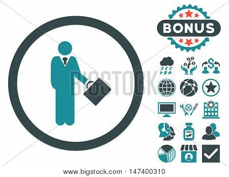 Businessman icon with bonus pictures. Vector illustration style is flat iconic bicolor symbols, soft blue colors, white background.