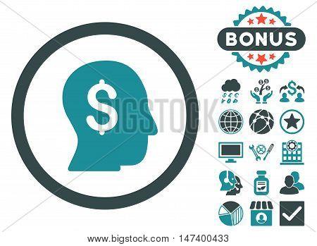 Businessman icon with bonus symbols. Vector illustration style is flat iconic bicolor symbols, soft blue colors, white background.