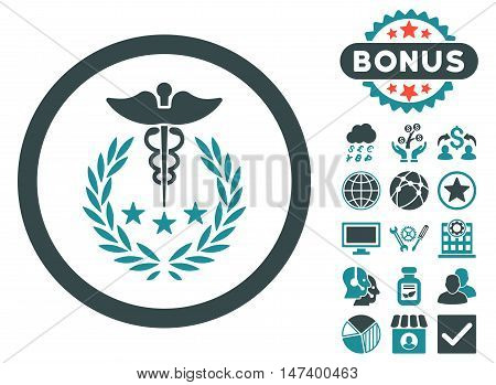 Caduceus Logo icon with bonus symbols. Vector illustration style is flat iconic bicolor symbols, soft blue colors, white background.