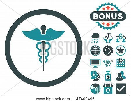 Caduceus icon with bonus symbols. Vector illustration style is flat iconic bicolor symbols, soft blue colors, white background.