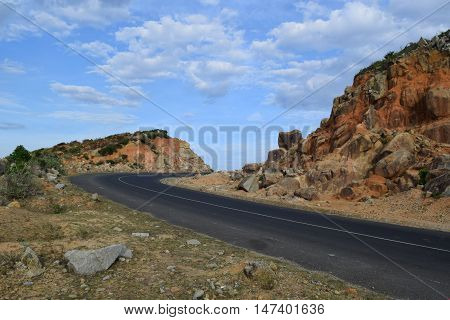 asphalt highway road on the mountain and hill area