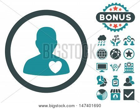 Cardiology Patient icon with bonus pictogram. Vector illustration style is flat iconic bicolor symbols, soft blue colors, white background.