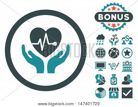 Cardiology icon with bonus design elements. Vector illustration style is flat iconic bicolor symbols, soft blue colors, white background.