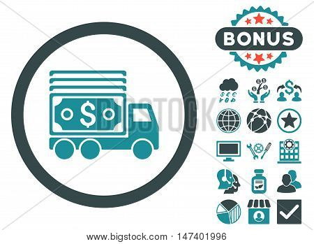 Cash Lorry icon with bonus elements. Vector illustration style is flat iconic bicolor symbols, soft blue colors, white background.